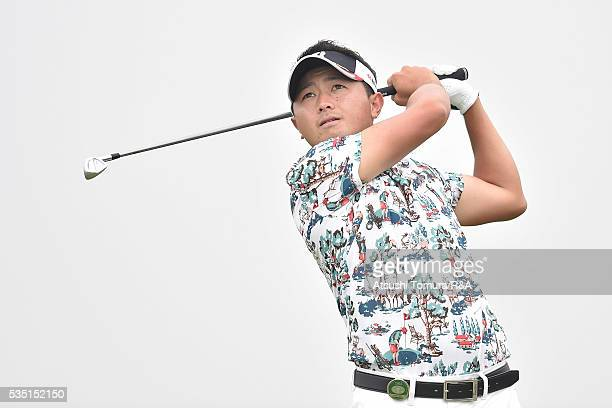Daisuke Kataoka of Japan hits his tee shot on the 8th hole during the Mizuno Open at JFE Setonaikai Golf Club on May 29 2016 in Okayama Japan