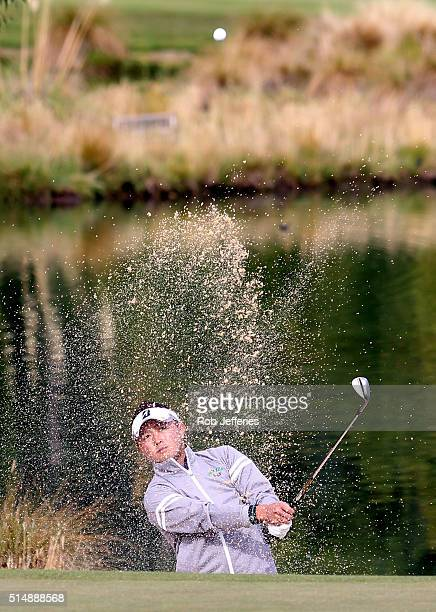 Daisuke Kataoka of Japan plays a sand wedge during day three of the 2016 New Zealand Open at The Hills on March 12 2016 in Queenstown New Zealand