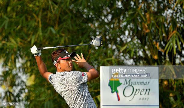 Daisuke Kataoka of Japan plays a shot during round One of the Leopalace21 Myanmar Open at Pun Hlaing Golf Club on January 26 2017 in Yangon Myanmar