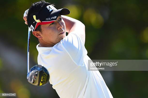 Daisuke Kataoka of Japan plays a shot during the final round of the Sony Open In Hawaii at Waialae Country Club on January 17 2016 in Honolulu Hawaii