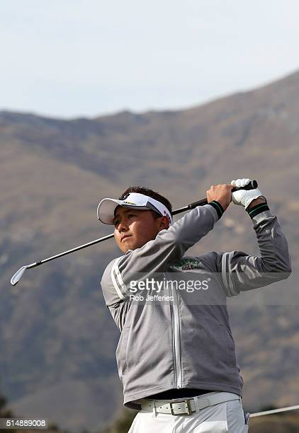 Daisuke Kataoka of Japan plays an iron shot during day three of the 2016 New Zealand Open at The Hills on March 12 2016 in Queenstown New Zealand