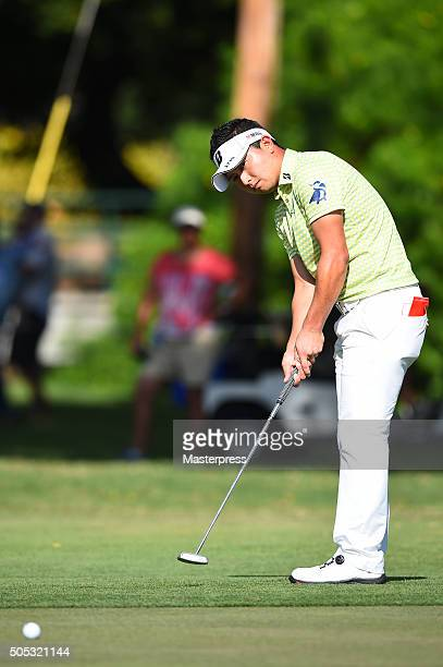 Daisuke Kataoka of Japan putts on the 8th green during the third round of the Sony Open In Hawaii at Waialae Country Club on January 16 2016 in...