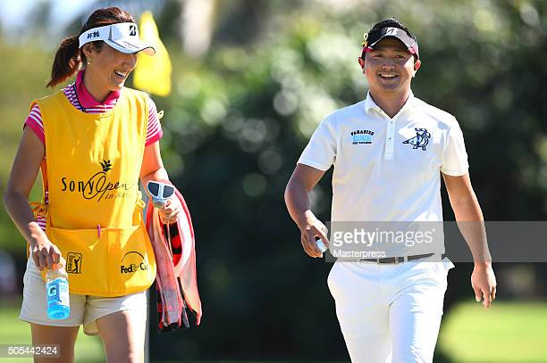 Daisuke Kataoka of Japan smiles during the final round of the Sony Open In Hawaii at Waialae Country Club on January 17 2016 in Honolulu Hawaii