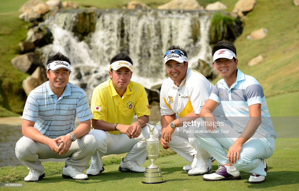 Daisuke Maruyama of Japan, <a gi-track='captionPersonalityLinkClicked' href=/galleries/search?phrase=Hideki+Matsuyama&family=editorial&specificpeople=5566852 ng-click='$event.stopPropagation()'>Hideki Matsuyama</a> of Japan, Kiradech Aphinbanrat of Thailand and Wu Ashun of China pose with the Claret Jug during round two of The Open Championship International Final Qualifying Asia at Amata Springs Country Club on March 1, 2013 in Bangkok, Thailand.