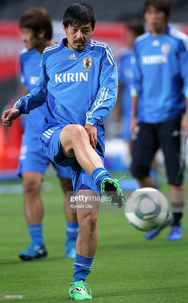 Daisuke Matsui takes part in the Japan national team training session ahead of the Kirin Challenge Cup international friendly match against South Korea at Sapporo Dome on August 9, 2011 in Sapporo, Japan.