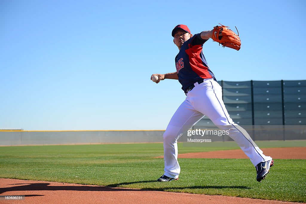 <a gi-track='captionPersonalityLinkClicked' href=/galleries/search?phrase=Daisuke+Matsuzaka&family=editorial&specificpeople=797706 ng-click='$event.stopPropagation()'>Daisuke Matsuzaka</a> of Cleveland Indians throws during Cleveland Indians Spring Training on February 22, 2013 in Goodyear, Arizona.