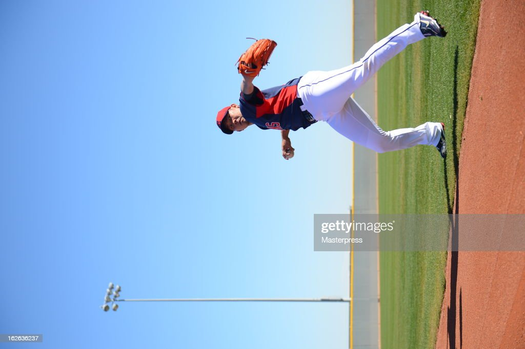 Daisuke Matsuzaka of Cleveland Indians throws during Cleveland Indians Spring Training on February 22, 2013 in Goodyear, Arizona.