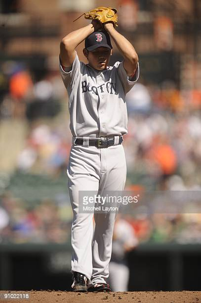 Daisuke Matsuzaka of the Boston Red Sox pitches during a baseball game against the Baltimore Orioles on September 20 2009 at Camden Yards in...