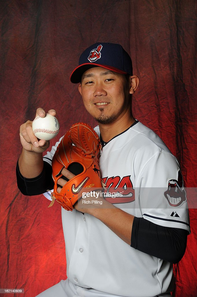 <a gi-track='captionPersonalityLinkClicked' href=/galleries/search?phrase=Daisuke+Matsuzaka&family=editorial&specificpeople=797706 ng-click='$event.stopPropagation()'>Daisuke Matsuzaka</a> #20 of the Cleveland Indians is seen during MLB photo day at the Goodyear Ballpark on February 19, 2013 in Goodyear, Arizona.
