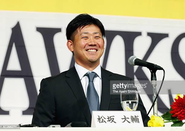 Daisuke Matsuzaka of the Fukuoka SoftBank Hawks speaks during a press conference on December 5 2014 in Fukuoka Japan