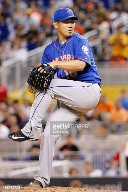 Daisuke Matsuzaka of the New York Mets delivers a pitch during the eighth inning of the game against the Miami Marlins at Marlins Park on May 05 2014...