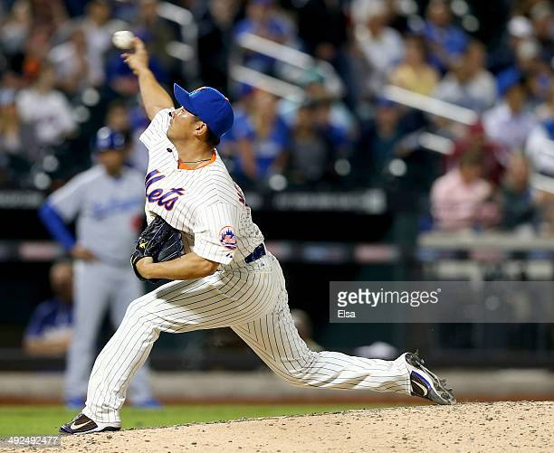 Daisuke Matsuzaka of the New York Mets delivers a pitch in the seventh inning against the Los Angeles Dodgers on May 20 2014 at Citi Field in the...