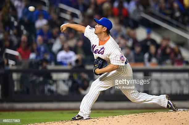 Daisuke Matsuzaka of the New York Mets delivers home in the 8th inning against the Los Angeles Dodgers at Citi Field on May 22 2014 in the Queens...