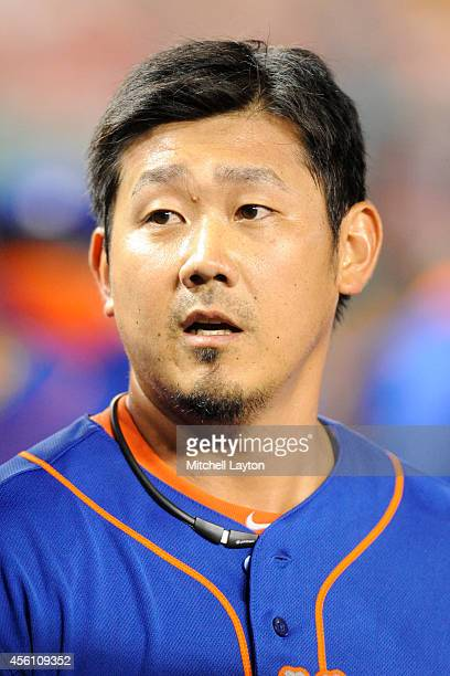 Daisuke Matsuzaka of the New York Mets looks on during game two of a doubleheader baseball game against the Washington Nationals on September 25 2014...