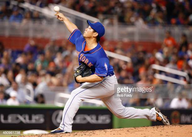 Daisuke Matsuzaka of the New York Mets pitches during the third inning of the game against the Miami Marlins at Marlins Park on June 20 2014 in Miami...