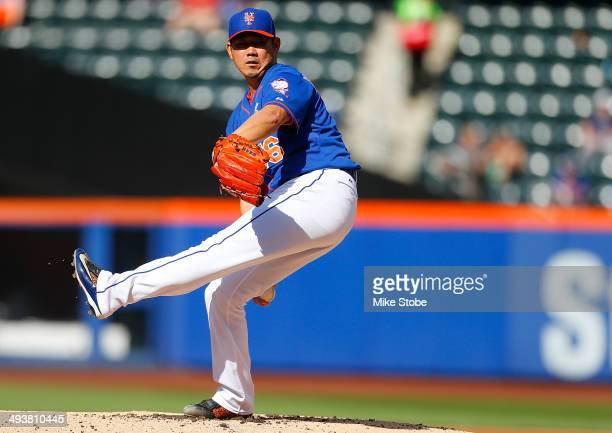 Daisuke Matsuzaka of the New York Mets pitches in the first inning against the Arizona Diamondbacks during game two of a doubleheader at Citi Field...