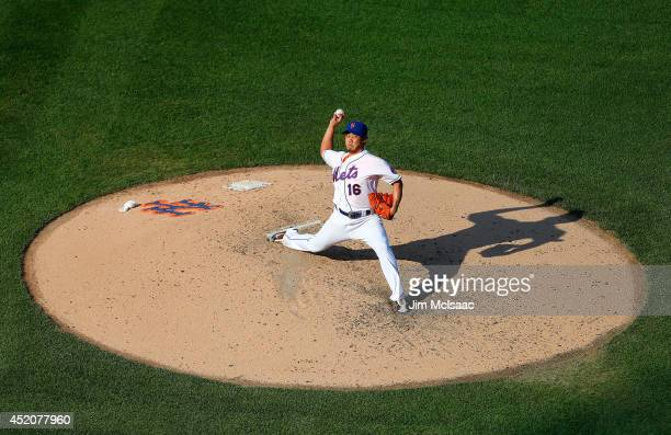 Daisuke Matsuzaka of the New York Mets pitches in the sixth inning against the Miami Marlins at Citi Field on July 12 2014 in the Flushing...