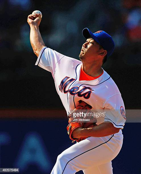 Daisuke Matsuzaka of the New York Mets pitches in the third inning against the Miami Marlins at Citi Field on July 12 2014 in the Flushing...