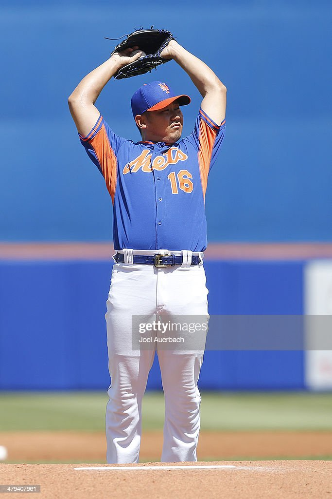 <a gi-track='captionPersonalityLinkClicked' href=/galleries/search?phrase=Daisuke+Matsuzaka&family=editorial&specificpeople=797706 ng-click='$event.stopPropagation()'>Daisuke Matsuzaka</a> #16 of the New York Mets stretches behind the mound prior to the start of the game against the Detroit Tigers during a spring training game at Tradition Field on March 18, 2014 in Port St. Lucie, Florida. The Mets defeated the Tigers 5-4.