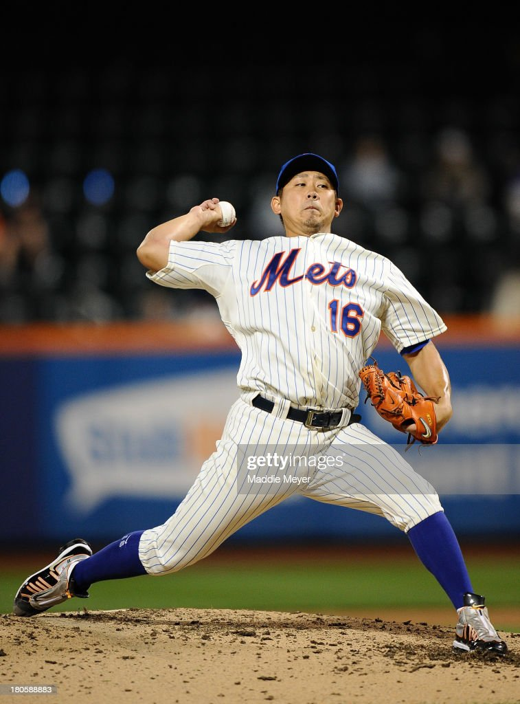 <a gi-track='captionPersonalityLinkClicked' href=/galleries/search?phrase=Daisuke+Matsuzaka&family=editorial&specificpeople=797706 ng-click='$event.stopPropagation()'>Daisuke Matsuzaka</a> #16 of the New York Mets throws a pitch against the Miami Marlins during the fifth inning of game two of a doubleheader on September 14, 2013 at Citi Field in the Flushing neighborhood of the Queens borough of New York City.