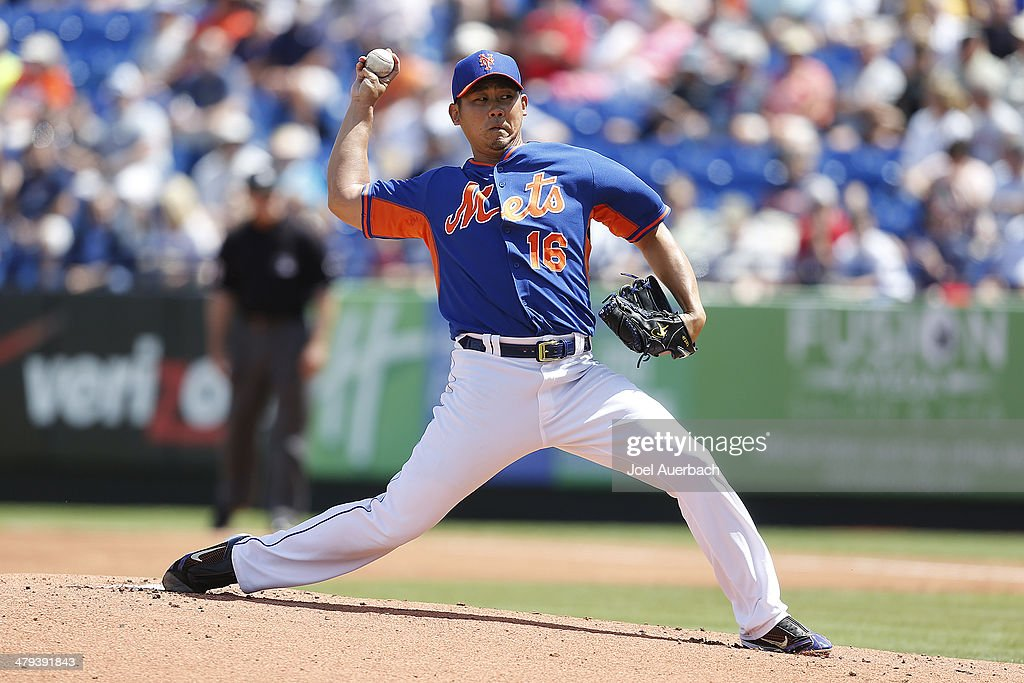 <a gi-track='captionPersonalityLinkClicked' href=/galleries/search?phrase=Daisuke+Matsuzaka&family=editorial&specificpeople=797706 ng-click='$event.stopPropagation()'>Daisuke Matsuzaka</a> #16 of the New York Mets throws the ball against the Detroit Tigers in the first inning during a spring training game at Tradition Field on March 18, 2014 in Port St. Lucie, Florida.