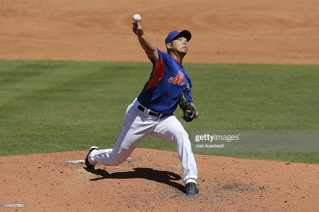 <a gi-track='captionPersonalityLinkClicked' href=/galleries/search?phrase=Daisuke+Matsuzaka&family=editorial&specificpeople=797706 ng-click='$event.stopPropagation()'>Daisuke Matsuzaka</a> #16 of the New York Mets throws the ball against the Detroit Tigers in the top of the fourth inning during a spring training game at Tradition Field on March 18, 2014 in Port St. Lucie, Florida. The Mets defeated the Tigers 5-4.
