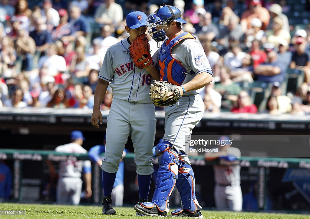 <a gi-track='captionPersonalityLinkClicked' href=/galleries/search?phrase=Daisuke+Matsuzaka&family=editorial&specificpeople=797706 ng-click='$event.stopPropagation()'>Daisuke Matsuzaka</a> #16 talks with catcher Anthony Recker #20 of the New York Mets during the fourth inning against the Cleveland Indians in their game on September 8, 2013 at Progressive Field in Cleveland, Ohio. The Mets defeated the Indians 2-1.