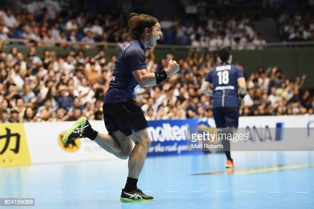 Daisuke Miyazaki of Japan celebrates scoring a goal during the men's international match between Japan and South Korea at Komazawa Gymnasium on July...