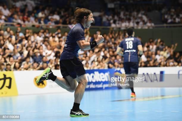 Daisuke Miyazaki of Japan celebrates scoring a goal during the men's international match between Japan and South Korea at Komazawa Gymnasium on July...