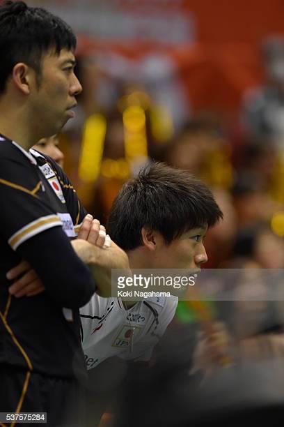 Daisuke Sakai and Yuki Ishikawa Japan looks on during the Men's World Olympic Qualification game between Australia and Japan at Tokyo Metropolitan...
