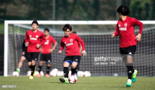 Daisuke Sakai of Japan kicks the ball during a Japan training session for the FIFA U20 World Cup Korea Republic at Suwon World Cup Stadium Auxiliary...