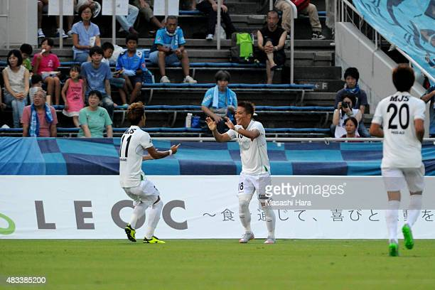 Daisuke Takagi of Tokyo Verdy celebrates the second goal during the JLeague second division match between Yokohama FC and Tokyo Verdy at Nippatsu...