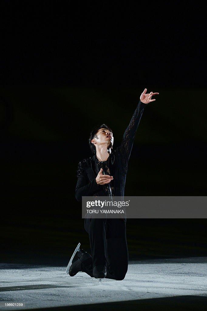 Daisuke Takahasbhi of Japan performs during an exhibition in the NHK Trophy, the last leg of the six-stage ISU figure skating Grand Prix series, in Rifu, northern Japan, on November 25, 2012. AFP PHOTO/Toru YAMANAKA