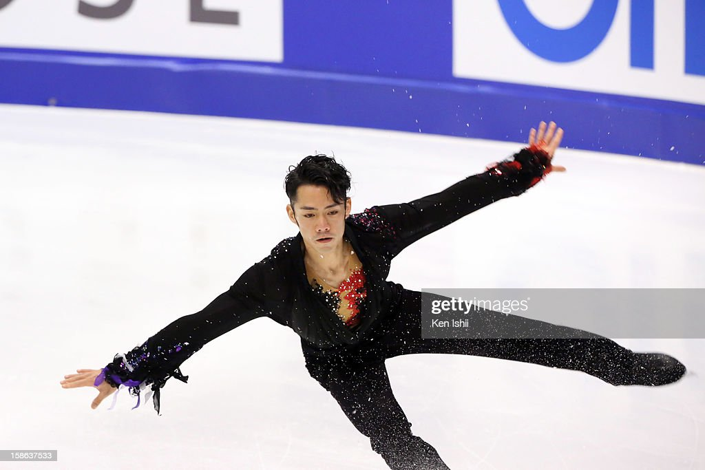 Daisuke Takahashi competes in the Men's Free Program during day two of the 81st Japan Figure Skating Championships at Makomanai Sekisui Heim Ice Arena on December 22, 2012 in Sapporo, Japan.