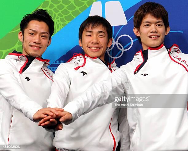Daisuke Takahashi Nobunari Oda and Takahiko Kozuka of Japan Figure Skating Men's Singles team pose for photographs ahead of the Vancouver 2010 Winter...