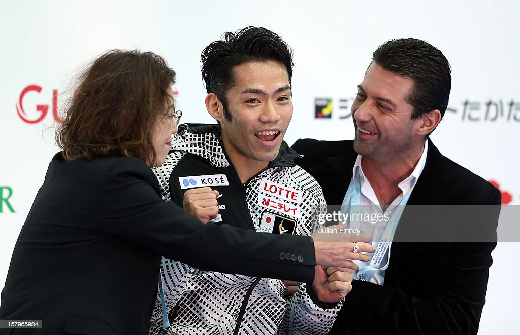 Daisuke Takahashi of Japan celebrates winning gold in the Mens Free Skating during the Grand Prix of Figure Skating Final 2012 at the Iceberg Skating Palace on December 8, 2012 in Sochi, Russia.