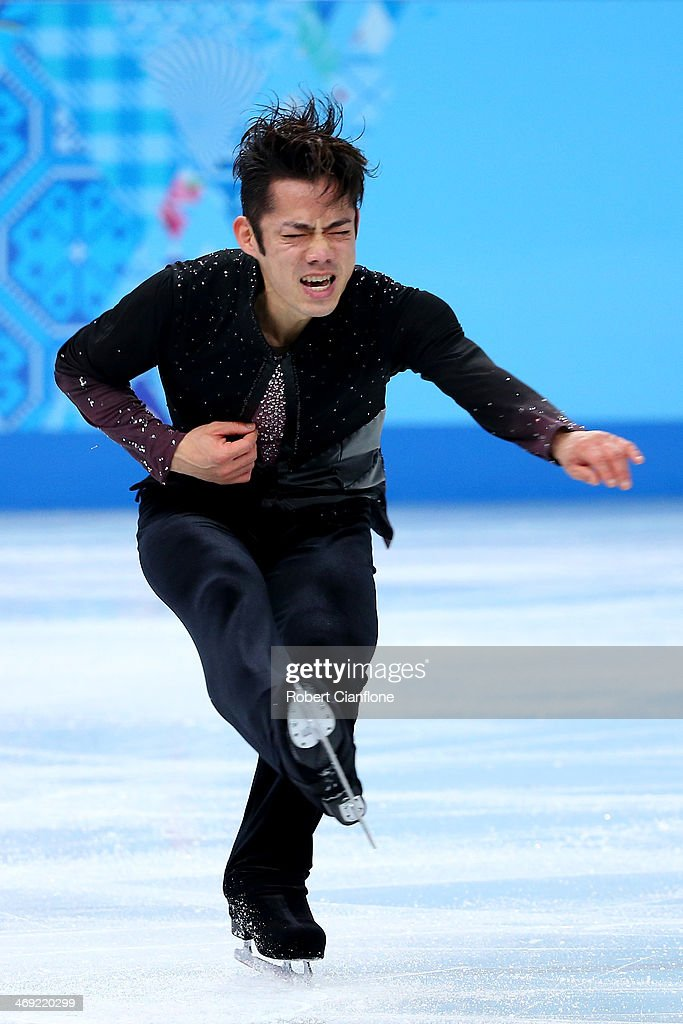 <a gi-track='captionPersonalityLinkClicked' href=/galleries/search?phrase=Daisuke+Takahashi&family=editorial&specificpeople=725172 ng-click='$event.stopPropagation()'>Daisuke Takahashi</a> of Japan competes during the Men's Figure Skating Short Program on day 6 of the Sochi 2014 Winter Olympics at the at Iceberg Skating Palace on February 13, 2014 in Sochi, Russia.