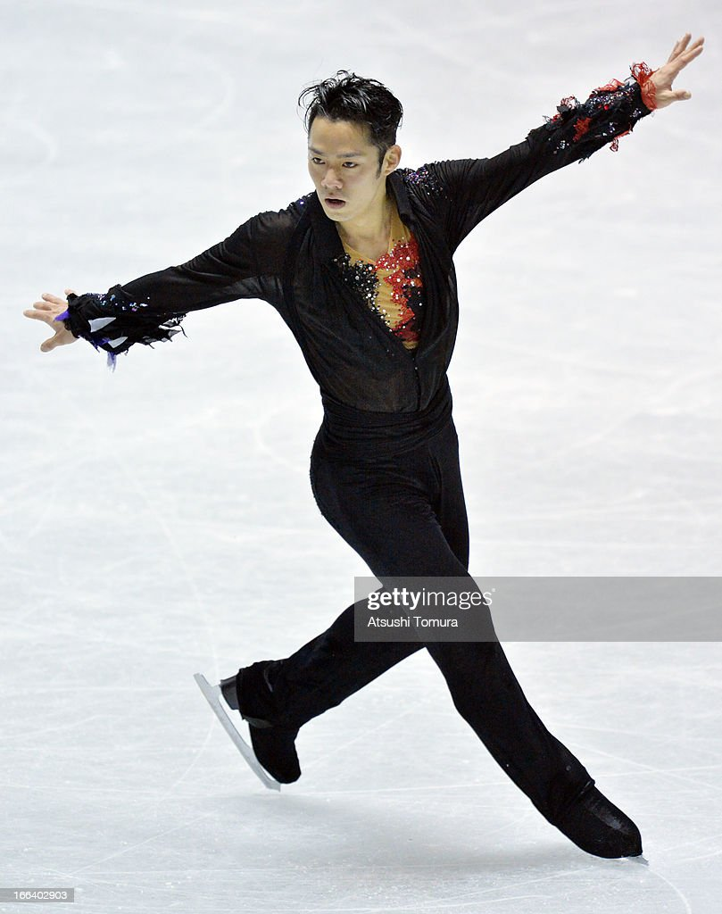<a gi-track='captionPersonalityLinkClicked' href=/galleries/search?phrase=Daisuke+Takahashi&family=editorial&specificpeople=725172 ng-click='$event.stopPropagation()'>Daisuke Takahashi</a> of Japan competes in the free program during day two of the ISU World Team Trophy at Yoyogi National Gymnasium on April 12, 2013 in Tokyo, Japan.