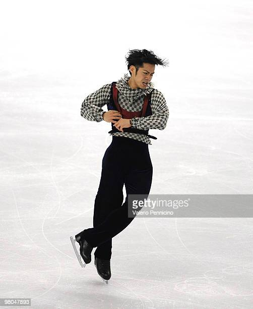 Daisuke Takahashi of Japan competes in the Men Free Skating during the 2010 ISU World Figure Skating Championships on March 25 2010 in Turin Italy
