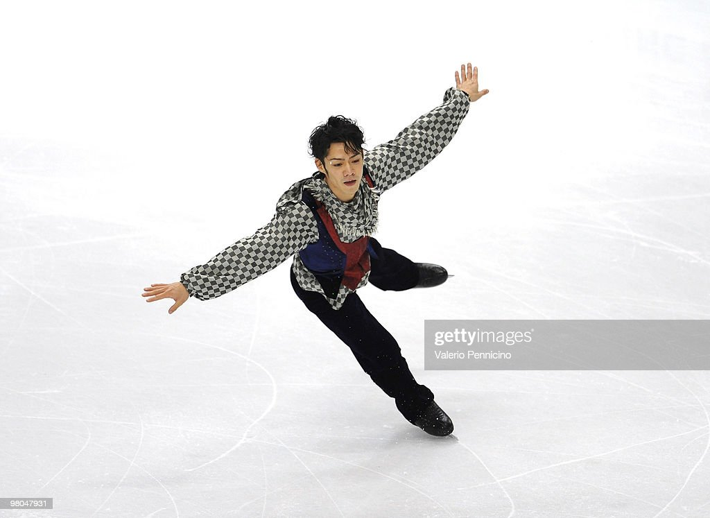 <a gi-track='captionPersonalityLinkClicked' href=/galleries/search?phrase=Daisuke+Takahashi&family=editorial&specificpeople=725172 ng-click='$event.stopPropagation()'>Daisuke Takahashi</a> of Japan competes in the Men Free Skating during the 2010 ISU World Figure Skating Championships on March 25, 2010 in Turin, Italy.