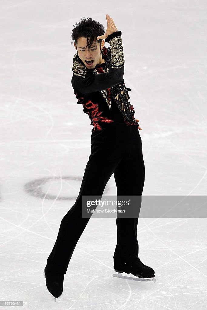 <a gi-track='captionPersonalityLinkClicked' href=/galleries/search?phrase=Daisuke+Takahashi&family=editorial&specificpeople=725172 ng-click='$event.stopPropagation()'>Daisuke Takahashi</a> of Japan competes in the men's figure skating short program on day 5 of the Vancouver 2010 Winter Olympics at the Pacific Coliseum on February 16, 2010 in Vancouver, Canada.