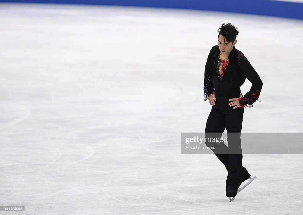 Daisuke Takahashi of Japan competes in the Men's Free Skating during day two of the ISU Four Continents Figure Skating Championships at Osaka Municipal Central Gymnasium on February 9, 2013 in Osaka, Japan.
