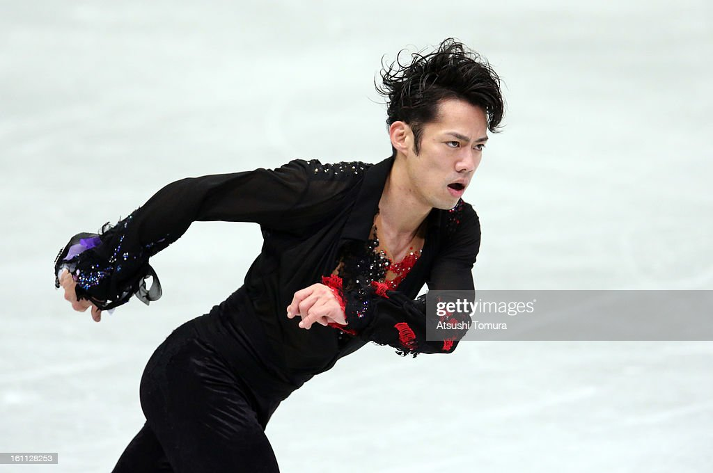 <a gi-track='captionPersonalityLinkClicked' href=/galleries/search?phrase=Daisuke+Takahashi&family=editorial&specificpeople=725172 ng-click='$event.stopPropagation()'>Daisuke Takahashi</a> of Japan competes in the Men's Free Skating during day two of the ISU Four Continents Figure Skating Championships at Osaka Municipal Central Gymnasium on February 9, 2013 in Osaka, Japan.