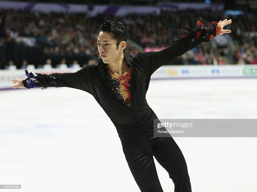 Daisuke Takahashi of Japan competes in the Mens Free Skating during the 2013 ISU World Figure Skating Championships at Budweiser Gardens on March 15, 2013 in London, Canada.