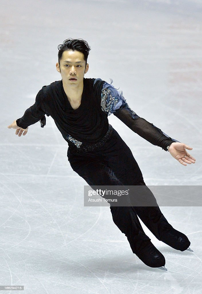 Daisuke Takahashi of Japan competes in the men's short program during day one of the ISU World Team Trophy at Yoyogi National Gymnasium on April 11, 2013 in Tokyo, Japan.