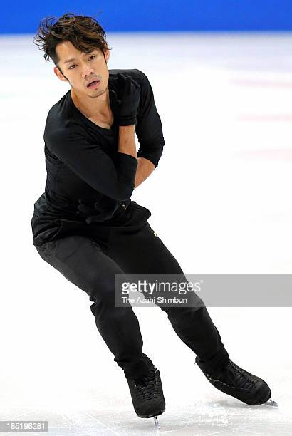 Daisuke Takahashi of Japan performs during a practice session ahead of the Skate America at Joe Louis Arena on October 17 2013 in Detroit Michigan