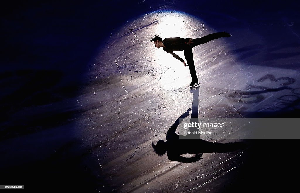<a gi-track='captionPersonalityLinkClicked' href=/galleries/search?phrase=Daisuke+Takahashi&family=editorial&specificpeople=725172 ng-click='$event.stopPropagation()'>Daisuke Takahashi</a> of Japan performs during the ISU World Figure Skating Championships 2013 Exhibition Gala at Budweiser Gardens on March 17, 2013 in London, Canada.