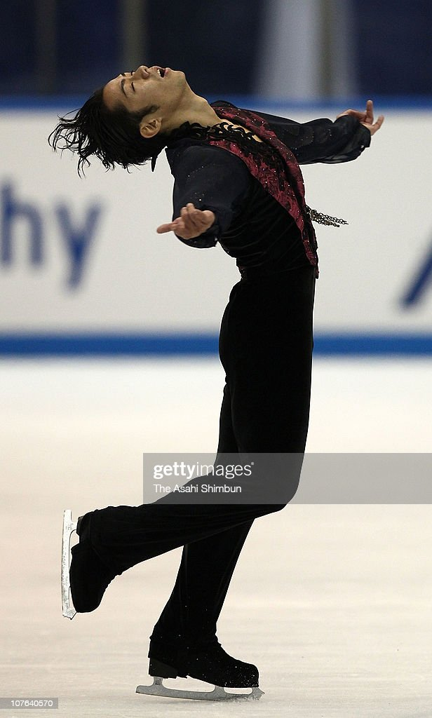 <a gi-track='captionPersonalityLinkClicked' href=/galleries/search?phrase=Daisuke+Takahashi&family=editorial&specificpeople=725172 ng-click='$event.stopPropagation()'>Daisuke Takahashi</a> of Japan performs in the Men's Free skating program during day Three of the ISU Grand Prix NHK Trophy at Nippon Gaishi Arena on October 24, 2010 in Nagoya, Aichi, Japan.