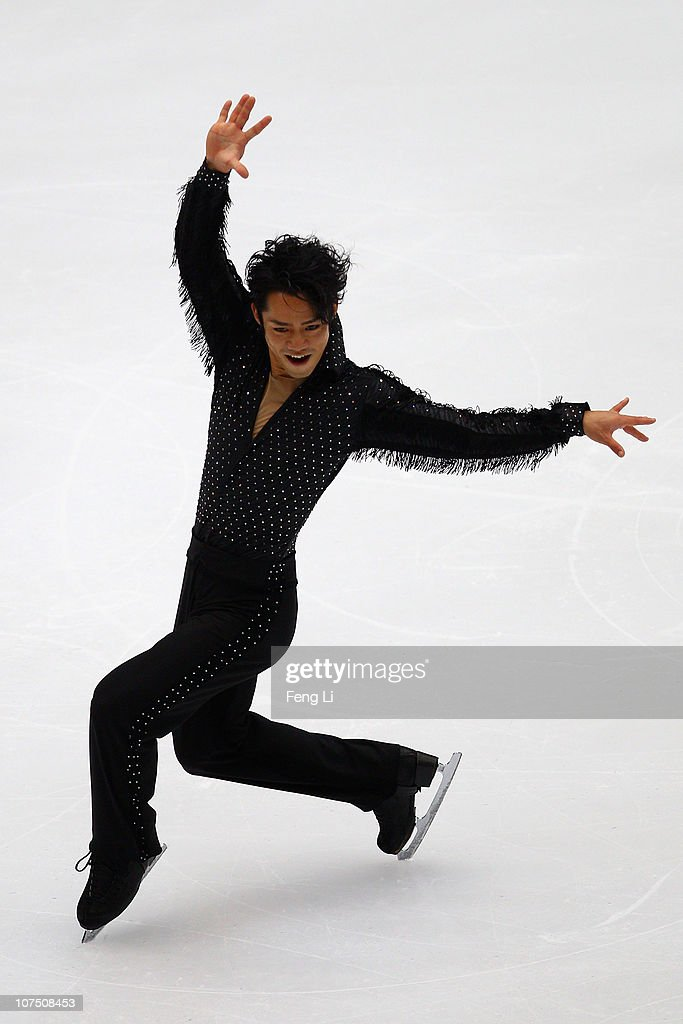 <a gi-track='captionPersonalityLinkClicked' href=/galleries/search?phrase=Daisuke+Takahashi&family=editorial&specificpeople=725172 ng-click='$event.stopPropagation()'>Daisuke Takahashi</a> of Japan skates in the Men Short Program during ISU Grand Prix and Junior Grand Prix Final at Beijing Capital Gymnasium on December 10, 2010 in Beijing, China.