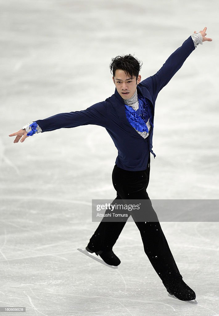 <a gi-track='captionPersonalityLinkClicked' href=/galleries/search?phrase=Daisuke+Takahashi&family=editorial&specificpeople=725172 ng-click='$event.stopPropagation()'>Daisuke Takahashi</a> of Japan skates in the Mens Short Program during day one of the ISU Four Continents Figure Skating Championships at Osaka Municipal Central Gymnasium on February 8, 2013 in Osaka, Japan.